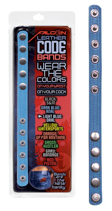 Leather Code Band Light Blue