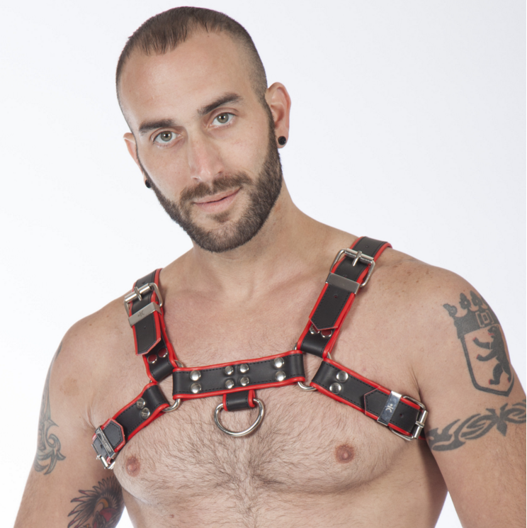 Genuine Leather BDSM Top Harness Black-Red