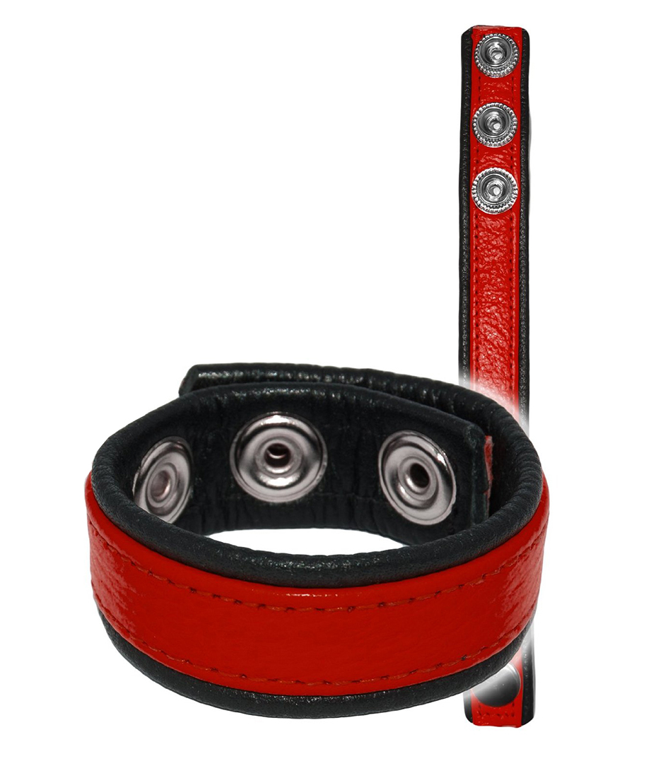 Leather Cockring Strap Band Red
