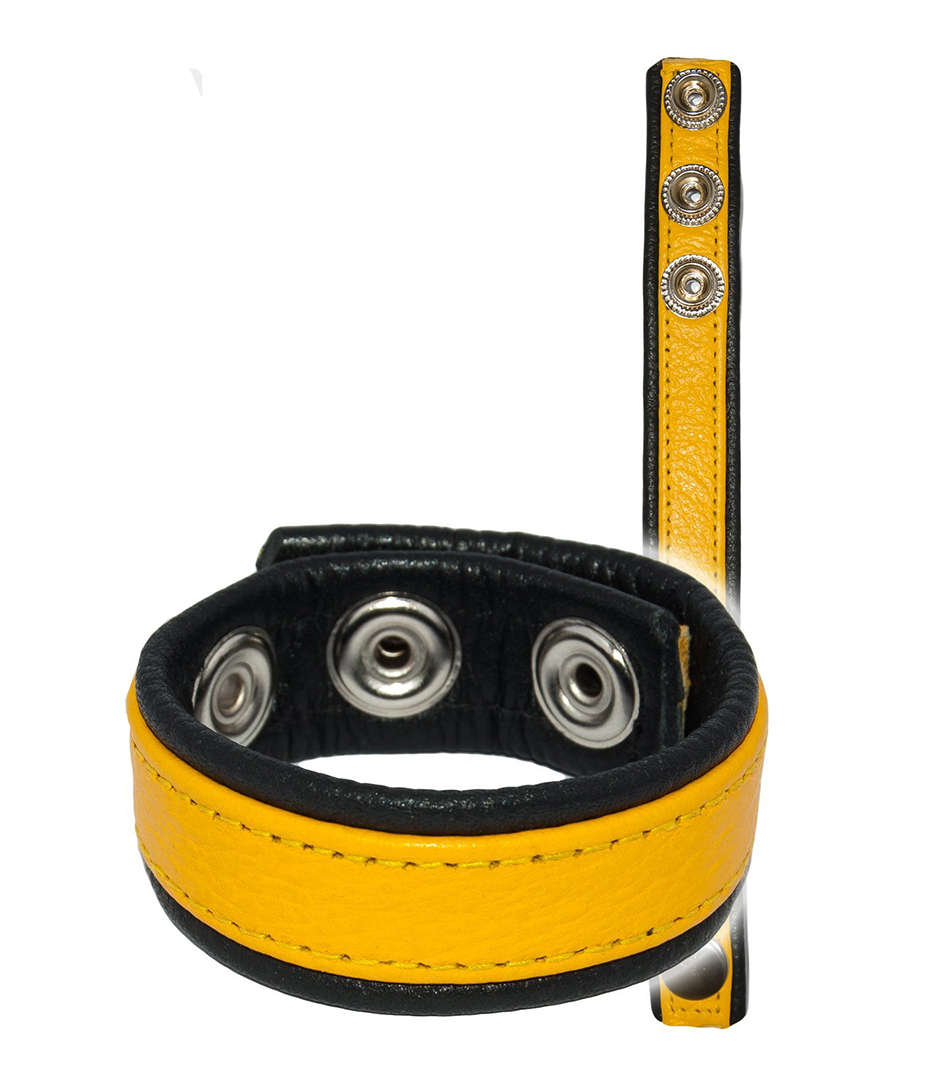 Leather Cockring Strap Band Yellow