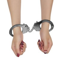 Fetish Pleasure Metal Hand Cuffs Image 1