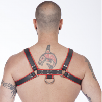 Genuine Leather BDSM Top Harness Black-Red Image 1