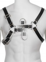 Genuine Leather BDSM Top Harness Black-White Image 2