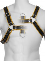 Genuine Leather BDSM Top Harness Black-Yellow Image 2