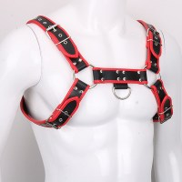 Genuine Leather BDSM Top Harness Black-Red Image 3