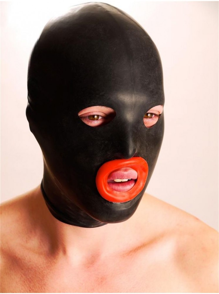 Rubber mask with red lips