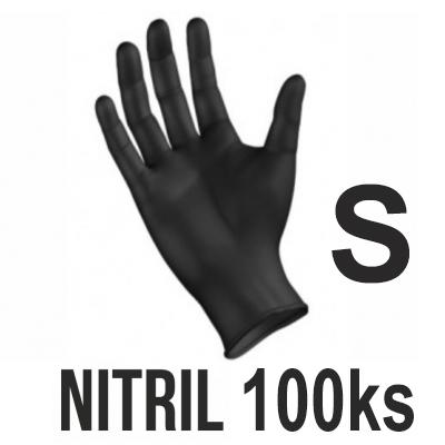 Rukavice NITRIL čierne (100ks - S)
